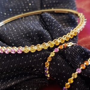 Multi Color Gem Bracelet & Hoop Earring Set